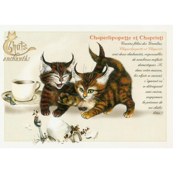 Carte Postale Chaperlipopette et Chapristi Chats Enchantés illustré par  Séverine Pineaux