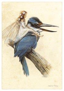 Fée sur le Martin-pêcheur de Jean-Baptiste Monge - Fées et Oiseaux