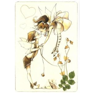 Carte postale Le Bisou de Delphine Gache - Lily Rose Poddington