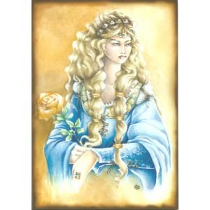 Carte postale Guenièvre de Delphine Gache - Légende Arthurienne de Delphine