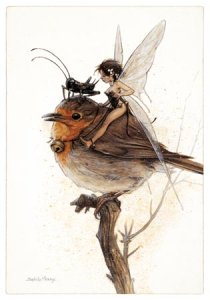 Carte Postale De Jean-Baptiste Monge, Fée et Rouge-gorge sur la Branche