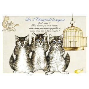 Carte postale Les Trois Chatons de la Sagesse de Séverine Pineaux