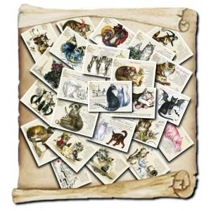 Lot de 24 cartes postales des Chats Enchantés de Séverine Pineaux