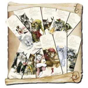 Lot de 12 marques pages des Chats Enchantés de Séverine Pineaux