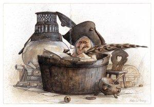 Carte Postale De Jean-Baptiste Monge, Écrivain dans son Bain