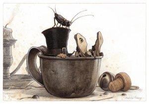 Lutin Endormi dans la Tasse, carte postale de Jean-Baptiste Monge
