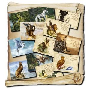 Les 12 cartes postales du Grand Bestiaire des Légendes de Séverine Pineaux