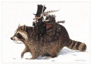 Carte Postale De Jean-Baptiste Monge, Lutin sur le Raton Laveur
