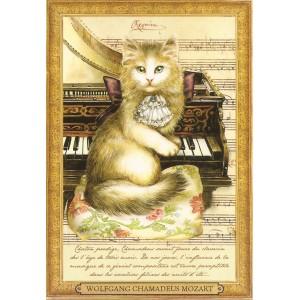 Wolfgang Chamadeus Mozart, Carte postale de Séverine Pineaux - Les Histochats