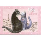 Amour, Carte postale de Séverine Pineaux  - Chats de Paris