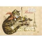 Bohême, Carte postale de Séverine Pineaux  - Chats de Paris