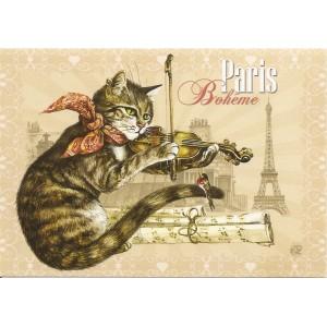 Bohème, Carte postale de Séverine Pineaux  - Chats de Paris