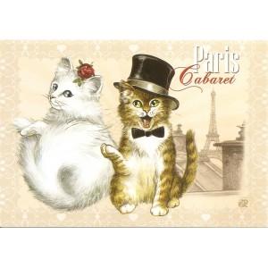 Cabaret, Carte postale de Séverine Pineaux  - Chats de Paris