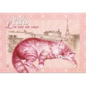 La vie en rose, Carte postale de Séverine Pineaux  - Chats de Paris