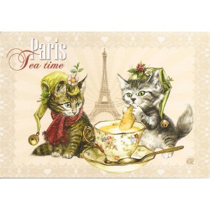 Tea time, Carte postale de Séverine Pineaux  - Chats de Paris