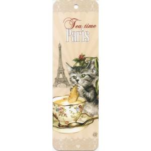 Tea time, Marque page de Séverine Pineaux - Chats de Paris