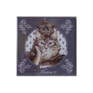 Magnet de chat de Séverine Pineaux, Matou 1er, aimant décoratif des Histochats