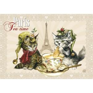 Tea Time, Magnet pour frigo de Séverine Pineaux  – Chats de Paris