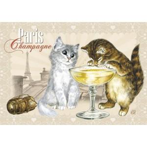 Champagne,Aimant décoratif de Séverine Pineaux  - Chats de Paris