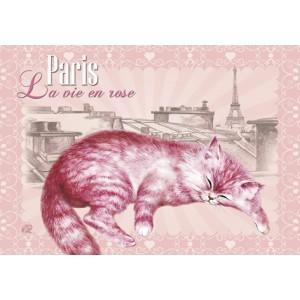 La vie en rose,  Magnet déco de Séverine Pineaux - Chats de Paris