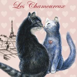 Chamoureux, Magnet pour frigo de Séverine Pineaux  - Chats enchantés