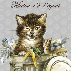 Matou-t'à-légout, Aimant décoratif de Séverine Pineaux  - Chats enchantés