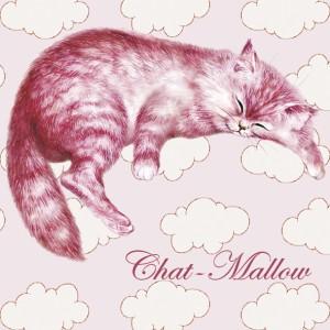 Chat-Mallow, Magnet déco de Séverine Pineaux - Chats enchantés