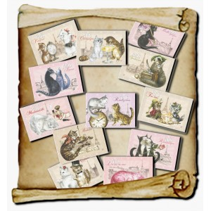 12 magnets Chats de Paris, Aimants décoratifs de chat de Séverine Pineaux