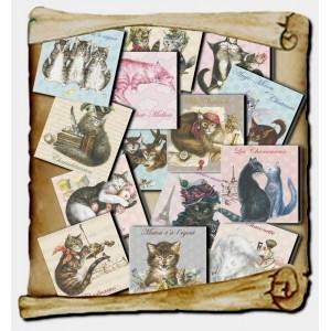 14 magnets Chats enchantés, Aimants décoratifs de chat Séverine Pineaux