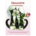 Affichette de chat de Séverine Pineaux, Chavalentin et sa Valentine de la collection des Chats Enchantés