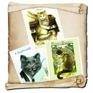 3 Affichettes de Séverine Pineaux de la collection des Histochats