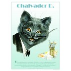Affichette de chat de Séverine Pineaux, Chalvador Dali de la collection Histochats