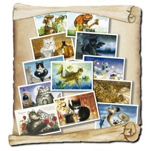 Lot des 12 cartes postales de chats de Séverine Pineaux, collection Chats enchantés 2014, éd. Au Bord des Continents...