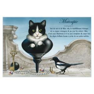 Carte postale de chat de Séverine Pineaux, Matoupie, coll. Chats enchantés 2014