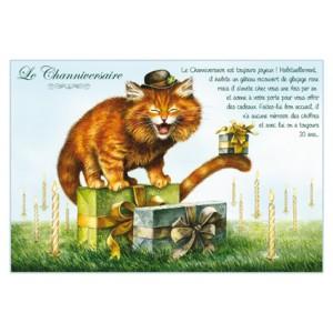Carte postale de chat de Séverine Pineaux, Channiversaire, coll. Chats enchantés 2014