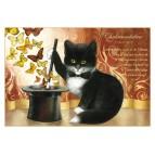 Carte postale de chat de Séverine Pineaux, Chabracadabra, coll. Chats enchantés 2014