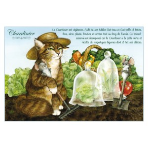Carte postale de chat de Séverine Pineaux, Chardinier, coll. Chats enchantés 2014