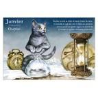 Carte postale de chat de Séverine Pineaux, mois de Janvier Chablier