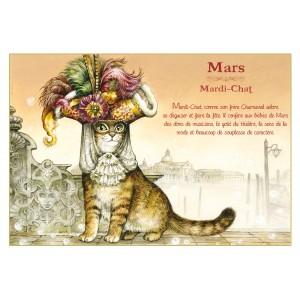 Carte postale de chat de Séverine Pineaux, mois de Mars, Mardi-Chat