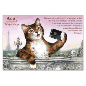 Carte postale de chat de Séverine Pineaux, mois d'Août, Matouriste