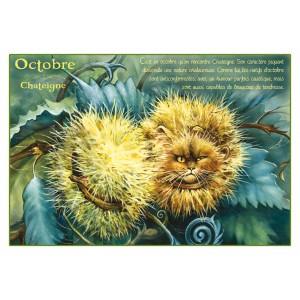 Carte postale de chat de Séverine Pineaux, mois d'Octobre, Chateigne