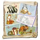6 cartes postales de chats de Séverine Pineaux, Les Channiversaires