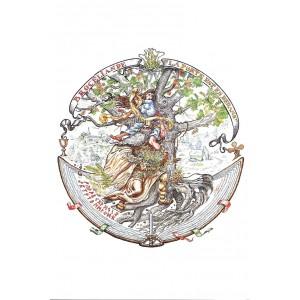 Merlin et Viviane en Brocéliande, carte postale Féeric de Tudor Banus