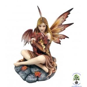 Figurine de fée et dragon rouge «Tammara», fée de l'automne