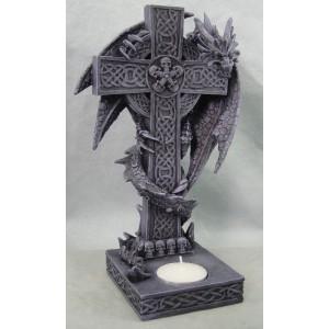 Bougeoir dragon sur croix celtique à têtes de mort