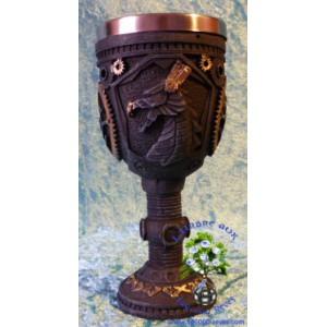 Calice engrenages et tête de dragon steampunk petit format