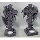 2 bougeoirs figurines dragons et croix celtiques