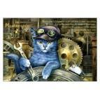 Méchanicien, carte postale de chat de Séverine Pineaux. Coll. Métiers des chats, éd. Au Bord des Continents