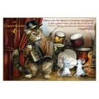 Chacordéoniste, carte postale de chat de Séverine Pineaux. Coll. Métiers des chats, éd. Au Bord des Continents
