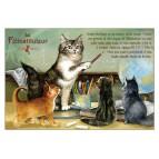 Félinstituteur, carte postale de chat de Séverine Pineaux. Coll. Métiers des chats, éd. Au Bord des Continents
